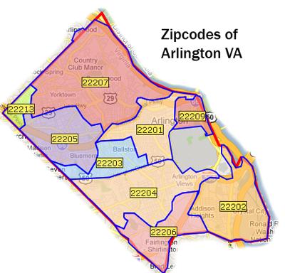 ARLINGTON County, VA Covers 28 ZIP Codes